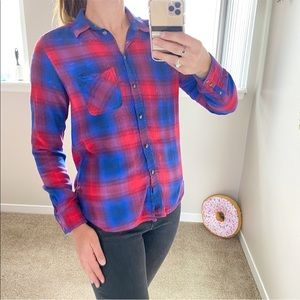 American Eagle vintage BF blue and red plaid shirt